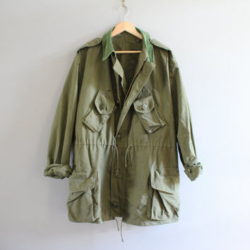 Military Jacket Army Green Cargo Pocket DrawSTring Jacket Oversize Unisex Vintage XL #A204A