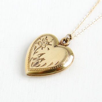 Vintage 14k Gold Filled Floral Heart Locket Necklace- 1940s WWII Era Sweetheart Etched Flower Jewelry Hallmarked Walter E. Hayward Co.