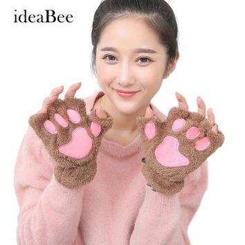 ideacherry Fluffy Warm Winter Bear Gloves Cat Plush Paw Claw Glove Soft Toweling Lady's Half Covered Wool Mittens Warmer Finger