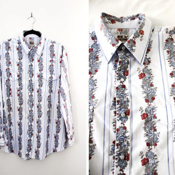 Vintage Rose Print Western Cowboy Shirt - Men's Long Sleeve Cotton Shirt - Size Extra Large