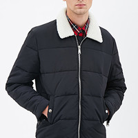 Faux Shearling Puffer Jacket Black
