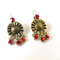 Red Glass Beads, Metal Flowers, Dangle Earrings, Beaded