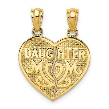 14K Yellow Gold Mother daughter Break Apart Heart Necklace Charm