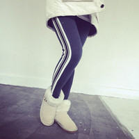 Aoki Fashion - Winter Style Fleece Warm Vertical Stripe Side Thicken Leggings Pants