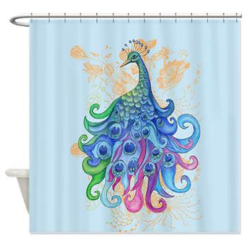Peacock Shower Curtain - Fabric - artistic, fanciful, whimsical, blue, purple, art, decor, bath, home