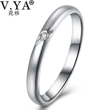 V.YA Unique Simple Love Engagement Wedding Ring For Female Lover Genuine 925 Sterling Silver Rings For Women Original Jewelry