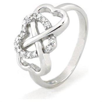 Sterling Silver Heart Infinity Ring w/ Cubic Zirconia (Size 5) Available Size: 5, 6, 7, 8