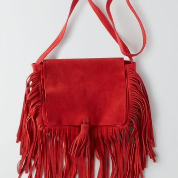 AEO Women's Leather Fringe Crossbody Purse (Red)