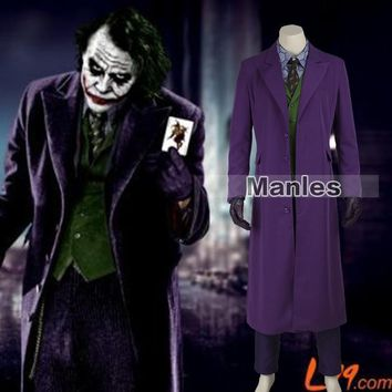 Batman Dark Knight gift Christmas Batman The Dark Knight Joker Costume Batman Joker Suit Outfits Classic Halloween Cosplay Movie Hero Costume Full Set Custom Made AT_71_6