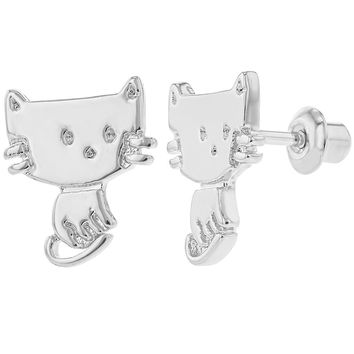 Rhodium Plated Cat Kitten Safety Screw Back Earrings for Kids Little Girls