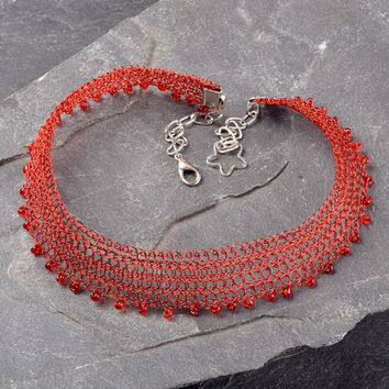 Red Choker Necklace, Wire Crochet Adjustable Necklace with Venetian Beads