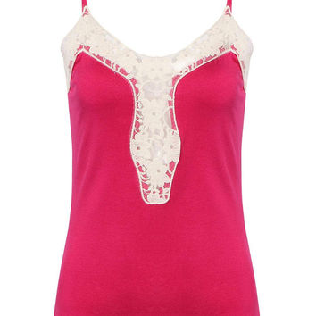 Rose Red Spaghetti Straps Tank Top