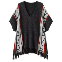 Printed V Neck Short Sleeve Fringed Sweater