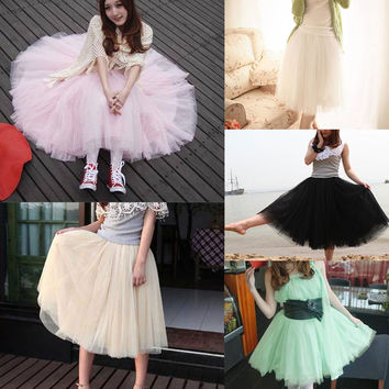 Fashion Women Princess Lace Fairy Style Multilayer Tulle Skirt Bouffant Long skirts
