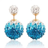 Affordable Jewelry Aqua Teal Blue Clear White Crystal Pavé Stud Double Sided Earrings Gift Idea