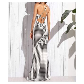 White Black Striped Shirred Back Maxi Dress