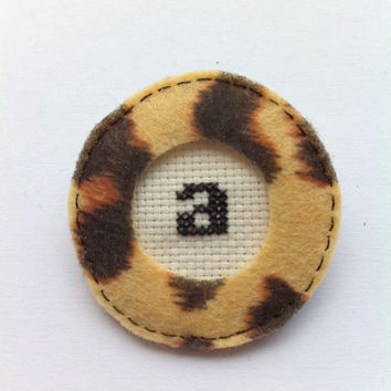 Embroidery initial letter brooch - animal print