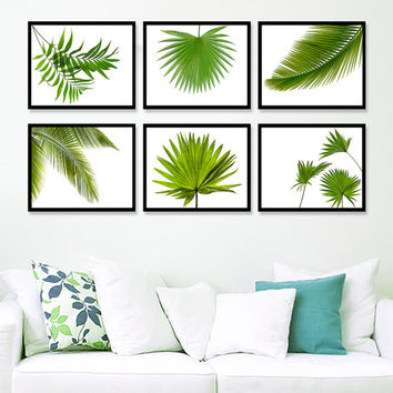 Set 6 Prints Tropical Leaf Print, Green Palm Art, Palm Art, Palm Leaves, Tropical Prints, Palm Leaf Prints, Tropical Decor, Green Decor *1*