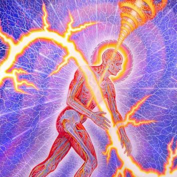 Trippy Surreal Alex Grey Psychedelic Art of Human Power of Man Poster Art