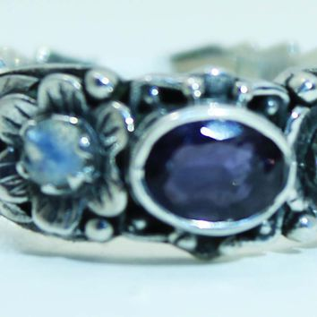 Beautifully Detailed Sterling Silver Iolite & Moonstone Flower ring
