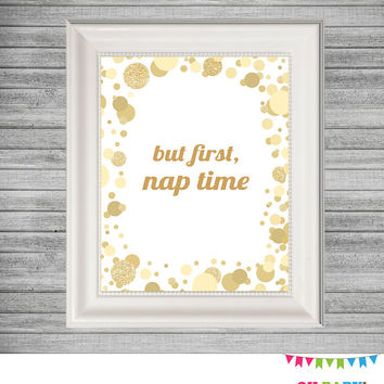 But First Nap Time, Baby Version of But First Coffee, Kids Wall Art Print, Gold Nursery Printable Art, Glitter, Instant Download CB0003-g