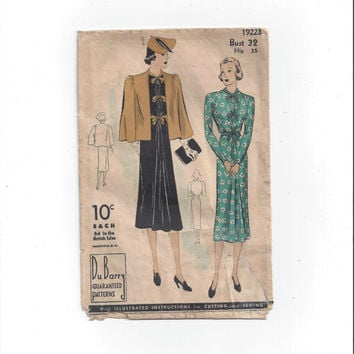 1930-40s Vintage Du Barry 1922 B Pattern for Misses' Dress & Cape, Bust 32, Hip 35, NON Printed, Vintage Pattern, Home Sewing Pattern