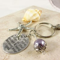 Starfish Keychain, Beach Inspired Keychain, Sand Between Your Toes Quote Kepychain, Wave Bead Keyring