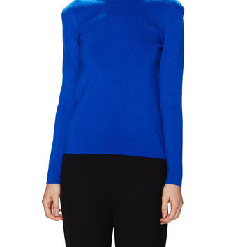 Maje Women's Puckered Crewneck sweater - Dark Blue/Navy -