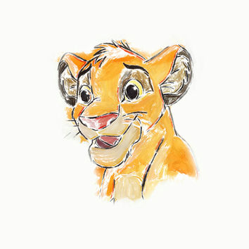 Disney Lion King Simba Watercolor Poster Print  Wall Decor Watercolor Painting Watercolor Art Kids Decor Nursery Decor