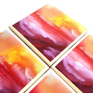 Pink Ombre Coasters, Jacqueline Maldonado Painting Print, Ceramic tile Coasters, Abstract Sunset Art