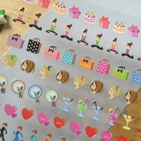 Beauty life yoga sticker dinner mini label simple life diary stickers shopping day seal label birthday day facial massage hair cut mini icon