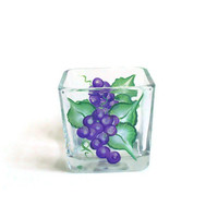 Candle Holder hand painted with grapes