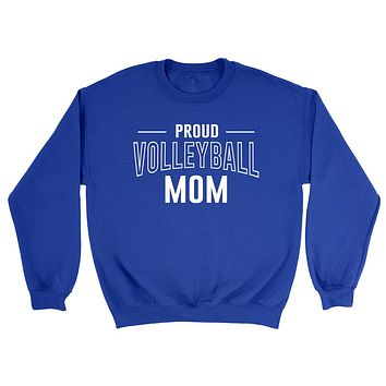 Proud volleyball mom team squad game day sport mom love volleyball  Mother's day Crewneck Sweatshirt