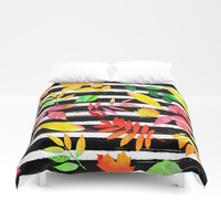 Watercolor Leaves Duvet Cover by Smyrna