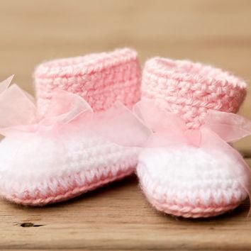 Crochet Baby Booties - Baby Boots - Big Bow Baby Pink and White Baby Shoes - Pink Baby