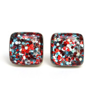 Red white and blue glitter studs Sparkle studs square glitter studs patriotic earrings branch jewelry wood earrings eco friendly