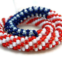 Bead Crochet Bangle Bracelet Stars & Stripes Series by lanmom