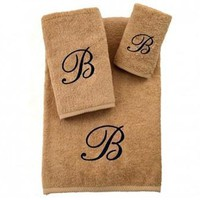 Soft twist Monogrammed Towel Set |sand