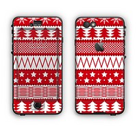 The Red and White Christmas Pattern Apple iPhone 6 Plus LifeProof Nuud Case Skin Set