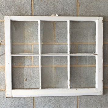 Vintage 6 Pane Window Frame - White, 36 x 28, Rustic, Wedding, Beach, Home, Decor, Photos, Pictures, Business, Holiday Decor, Farmhouse