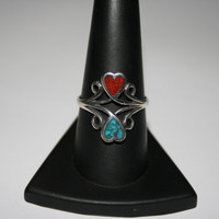 Double HeartsTurquoise and Coral Sterling Silver Ring Size 9- free ship US $40