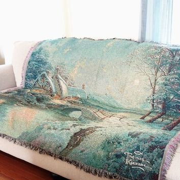 """DaDa Bedding Holiday Snowy Winter Cottage Tapestry Throw Blanket - 50"""" x 60"""" (2103)"""