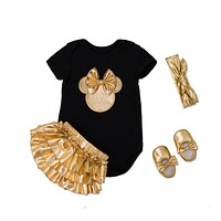 Summer Baby Girl Clothing Sets Black girls Clothes 4pcs infant cotton Rompers+Golden Ruffle Bloomers Shorts+Shoes+Headband