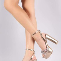 Bamboo Strappy Rhinestone Accent Chunky Platform Heel