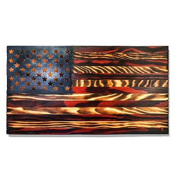 """Wooden American Flag, Handmade in USA, 24"""" x 13"""""""