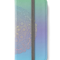 iPhone 6 Wallet Mandala Blue Green Purple  iPhone 6S Plus Wallet Case Woman's Lady Boho Bohemian Wallet Gift For Her