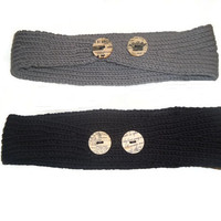 YOU CHOOSE ONE Gray or Black Knit Headband Ear Warmer Winter Hair Accessory with Wood Decorated Buttons