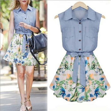 Summer Autumn Women Denim Chiffon Dress New Korean Floral Print Stitching Sleeveless Mini Sundress Vestidos Femininos WQW587 = 1753445444