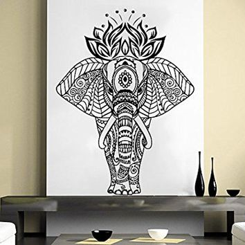 Wall Decal Elephant Vinyl Sticker Decals Lotus Indian Elephant Floral Patterns Tribal Buddha Ganesh Om Home Decor Boho Bedding Bedroom NV74 (28x39)