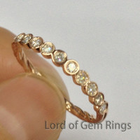 Moissanite Wedding Band Half Eternity Anniversary Ring 14K Rose Gold Hand Crafted